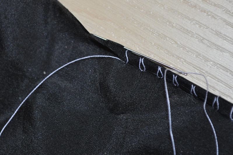Organza needle in fold