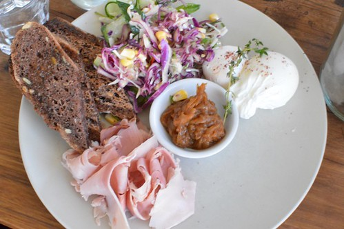 Soft poached Archerfield Farm eggs w/ toast & smoked onion relish + red cabbage salad w/ pickled corn, cucumber, chillies & grapefruit dressing + pastured raised ham