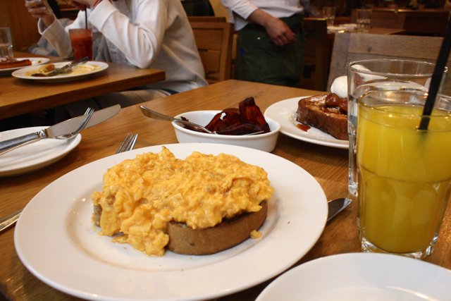 Eggs and bacon at Tom's Kitchen, Chelsea