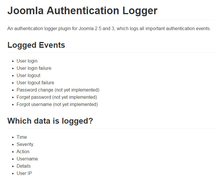 Authentication Logger files for analysis of visits in Joomla