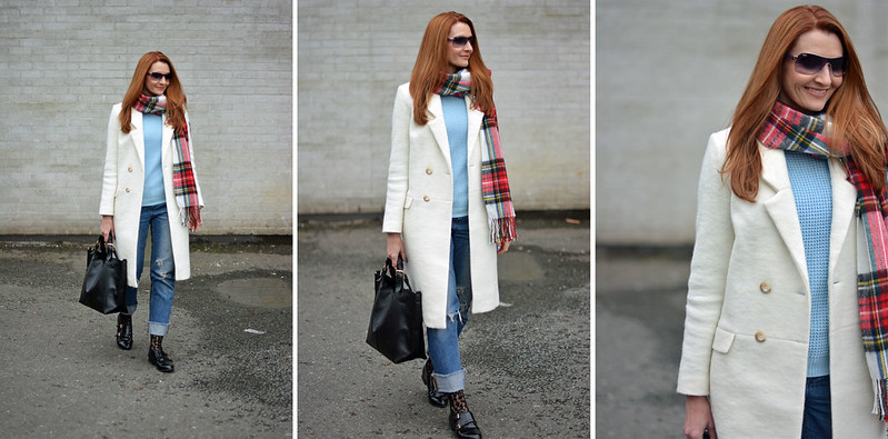 Winter style: Long white coat, tartan scarf, distressed jeans