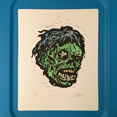 Went back to one of my #ShockMonster #prints & added some #watercolor. Not sure if I will do any more of these. Thoughts? #Topstone #mask #printmaking #series #Mississippi #MississippiArtist #woodcut #artistproof #horror #monsterkid