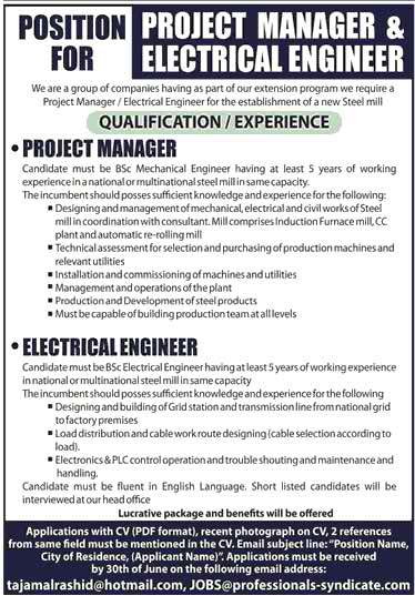 Project Manager and Electrical Engineer Required