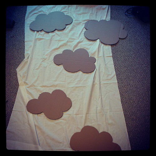 Cute clouds cut out of cardboard for my backdrop!