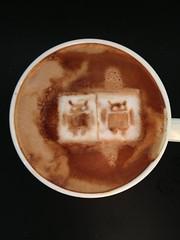 Today's latte, Tamiya Android T-shirt!