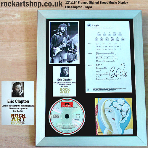 ERIC CLAPTON Layla Signed Framed Music Display