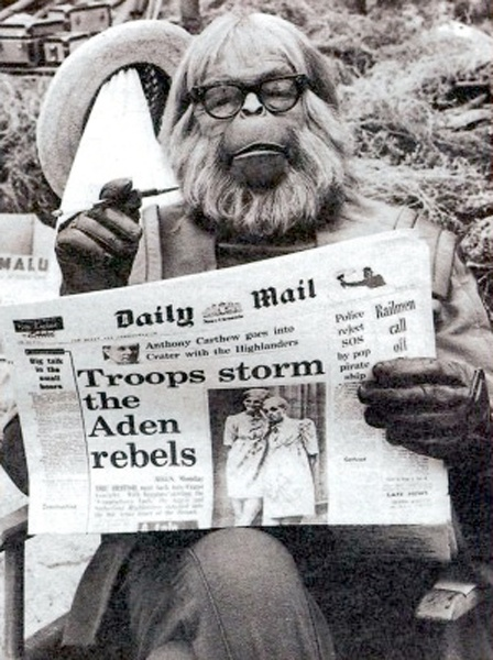 Dr. Zaius reading The Daily Mail