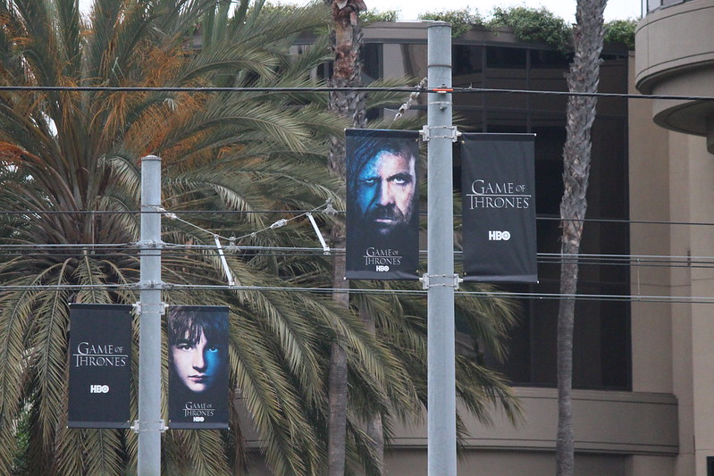 Game of Thrones character banners at the Trolley Station.
