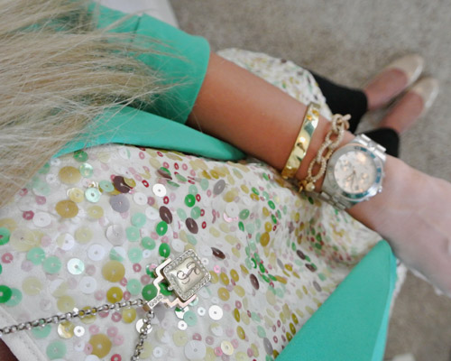Outfit: emerald + sequins