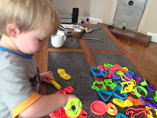 Messy Play - painting and play doh with Codie. He can't get enough at the moment