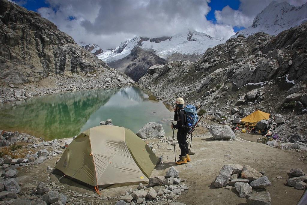 Back in basecamp after  a fluent climb. Yanapaccha (5460m). Cordillera Blanca. Peru.