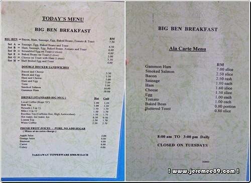 Big Bens English Breakfast @ Waterfall Road - Menu