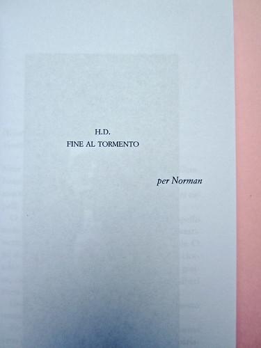 IMG_9366H. D., Fine al tormento. Archinto / RCS 2013. [responsabilità grafica non indicata]. Pag. dell'esergo (part.), 1