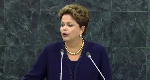 Brazil President Dilma Rousseff at the United Nations General Assembly on September 24, 2013. She condemned the US for spying on her country and others. by Pan-African News Wire File Photos
