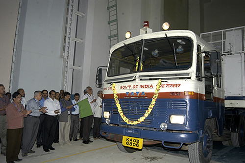 Spacecraft being Flagged Off by Director ISAC from ISITE ISAC Bangalore