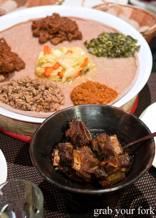 Goden tibs grilled beef ribs meat Jambo Jambo Ethiopian African Restaurant Crows Nest