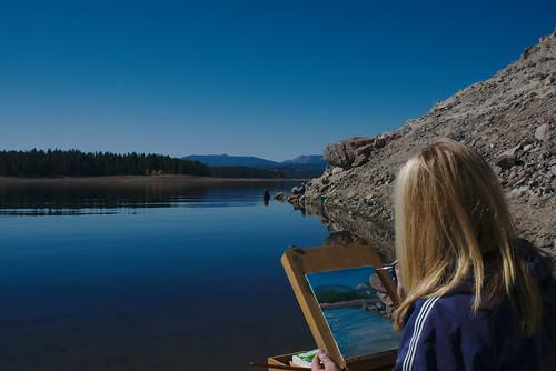 lake fall water painting fishing stampede