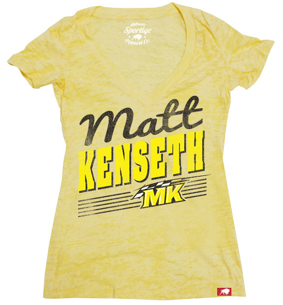 Womens Matt Kenseth Yellow Racing T-Shirt