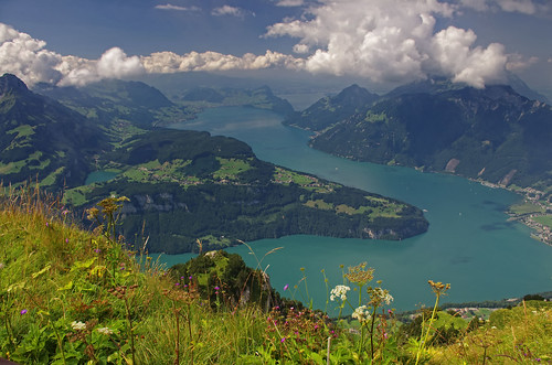 Views from the top of Fronalpstock high above lake Lucerne, Switzerland