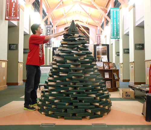 Creation of the 2013 Holiday Book Tree @ Fredricksen Library