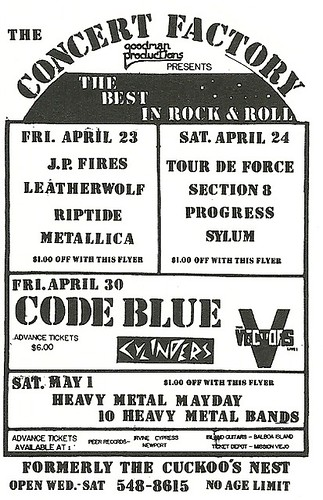 04/23/82 J.P. Fires/ Leatherwolf/ Riptide/ Metallica @ The Concert Factory, Costa Mesa, CA