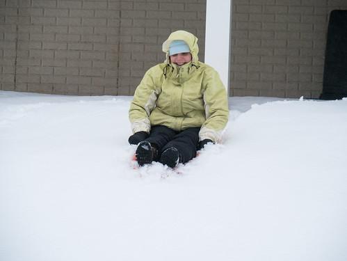 Jen sledding