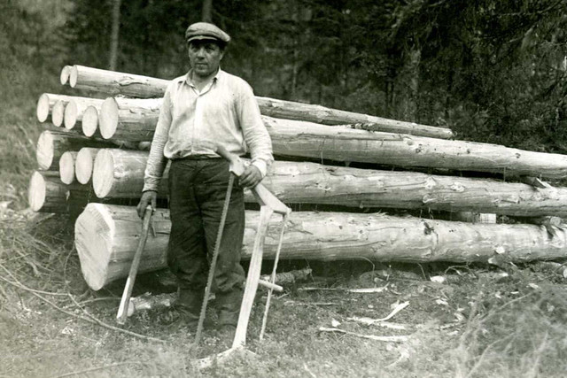 A lumberjack, 1944. Photographer unknown.