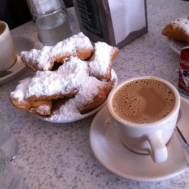 At Café du Monde. Breakfast of champions.