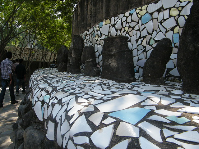 A wall made up of waste tiles in Rock garden, Chandigarh