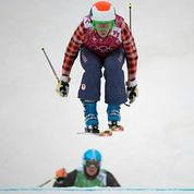 Kelsey Serwa holding down second place in the final run at the Olympic Winter Games in Sochi, RUS