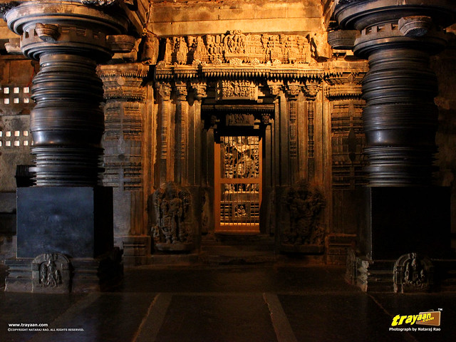 Idol of Lord Keshava, ornate lintels, typical Hoysala style lathe turned pillars inside Keshava Temple, Somanathapura, Mysore district, Karnataka, India