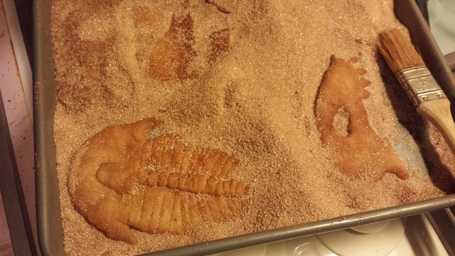 Trilobite and dino skull fossil cookies