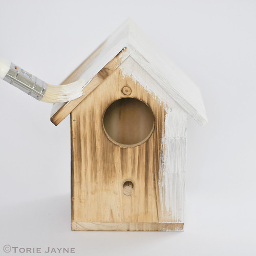 Paint birdhouse in white primer