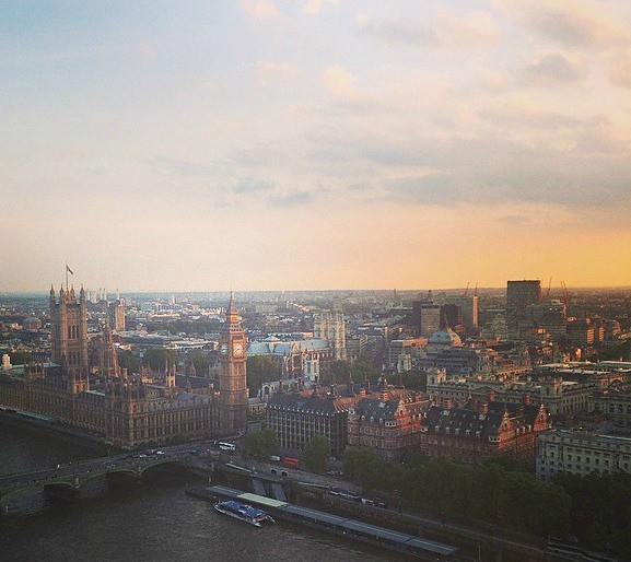Parliament from London Eye Sunset