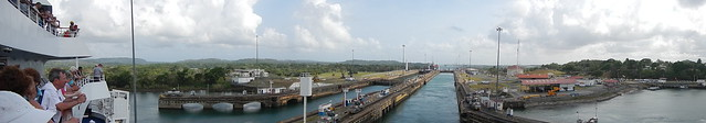 Looking back at Gatun Locks at end of Transit