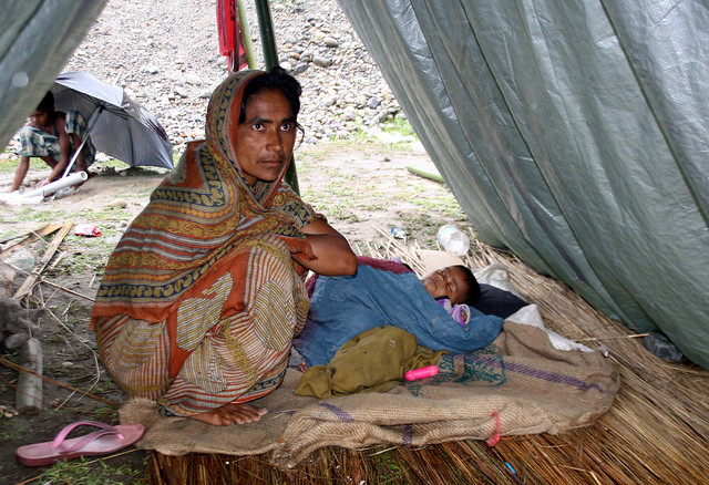 Afreeda with her child Moromi inside the camp