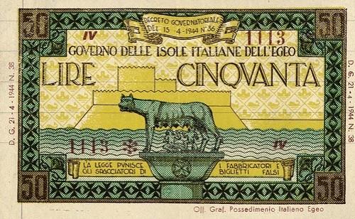 Lot 491 Italy 50 Lire 21.4.1944