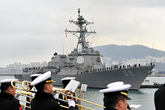 Republic of Korea Navy sailors welcome USS Mustin's (DDG 89) arrival in Busan, Jan. 29.  (Photo courtesy of ROK Navy)
