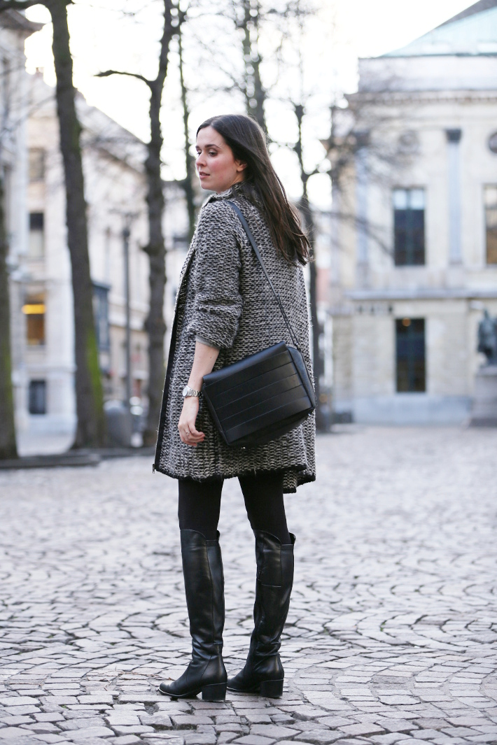 outfit: over the knee boots, and other stories handbag, zara knit