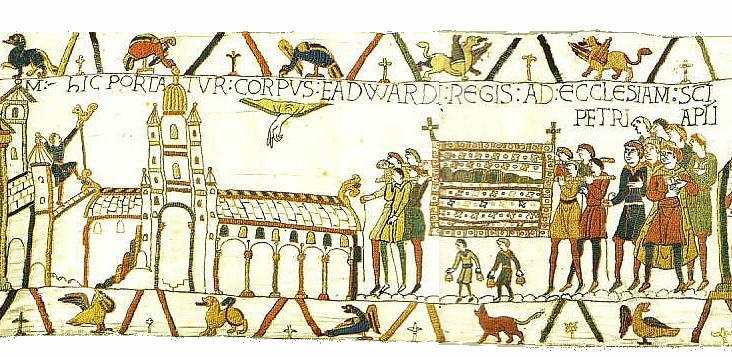 Westminster Abbey at the time of Edward's funeral, depicted in the Bayeux Tapestry