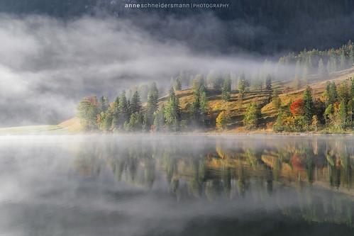 morning autumn mist lake mountains alps fall nature water fog sunrise germany landscape bayern deutschland bavaria nebel herbst alpen sonnenaufgang mittenwald wetterstein anneschneidersmann