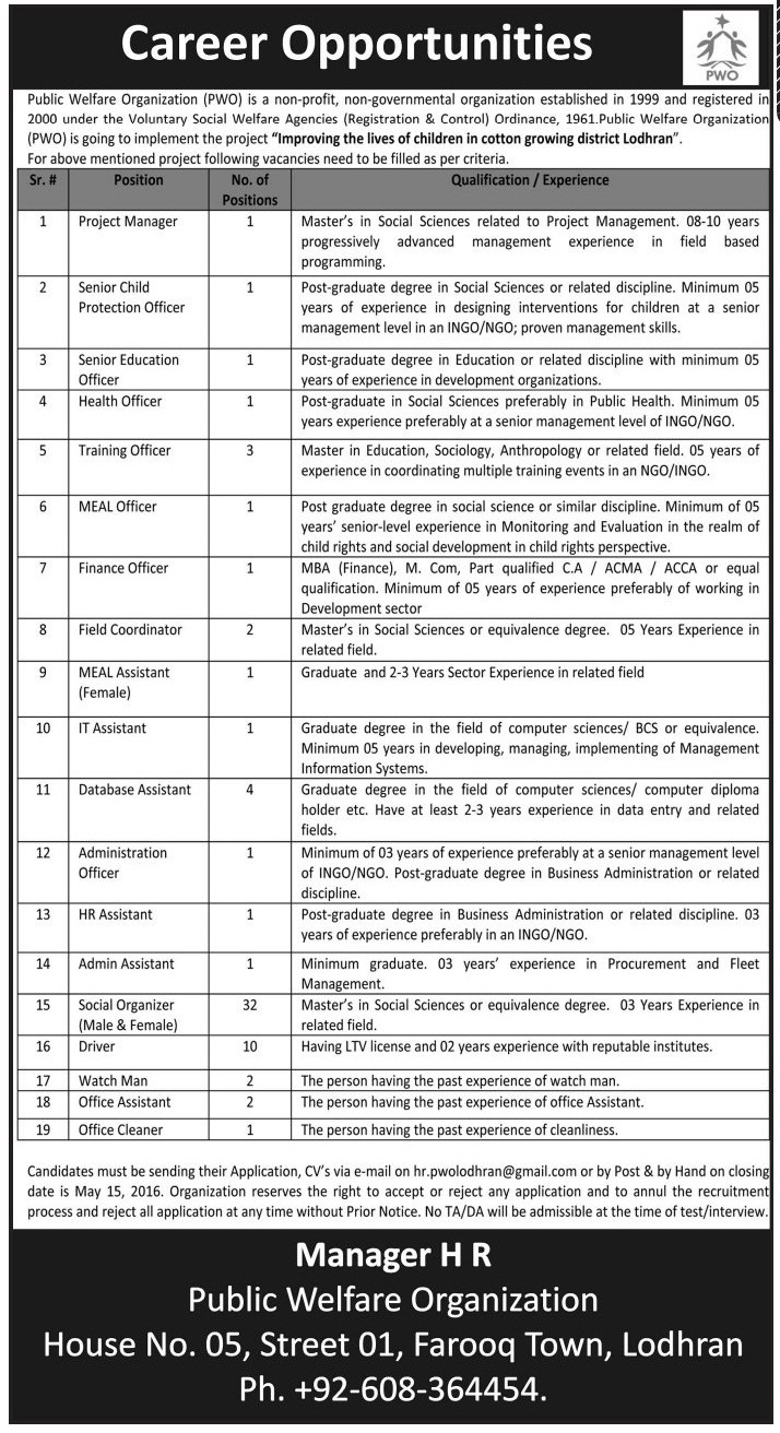 Public Welfare Organization Career Opportunities
