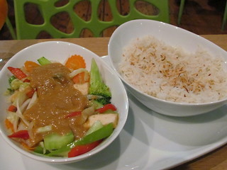 Peanut Stir-Fry and Coconut Rice at Veggo Sizzle