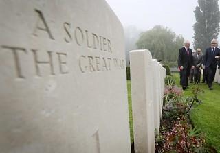 Martin McGuinness visiting First World War graves in Flanders.