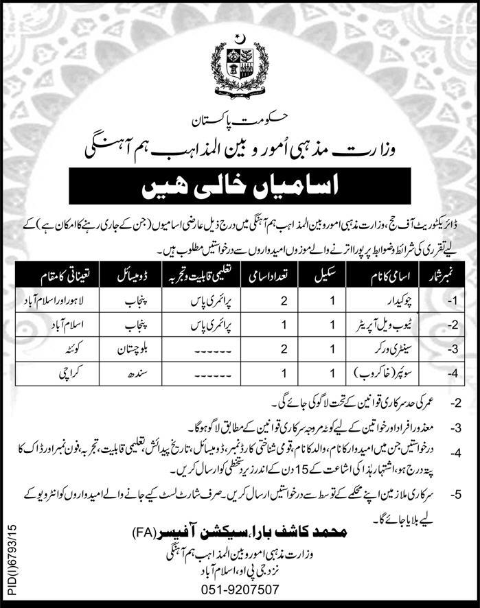Ministry of Religious Affairs Basic Scale Jobs