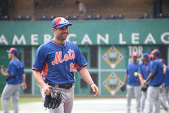 Neil Walker smiling as the rain starts to fall during batting practice