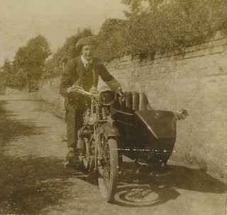 Early BSA with chair...I have just picked up one of those sidecar side lamps.