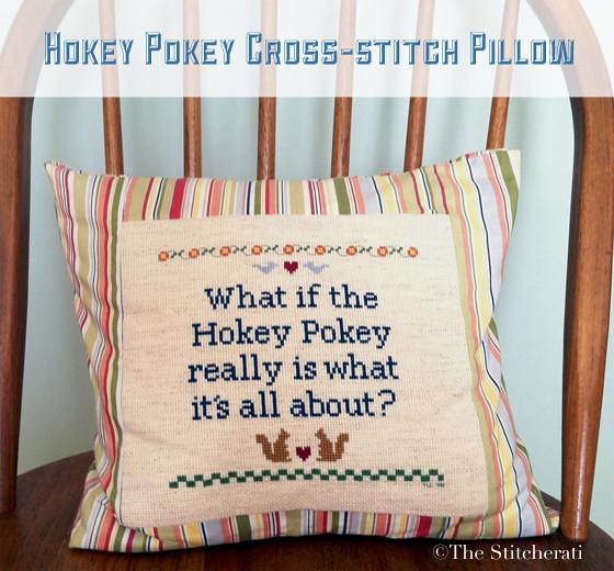 hokey pokey cross stitch pillow the stitcherati