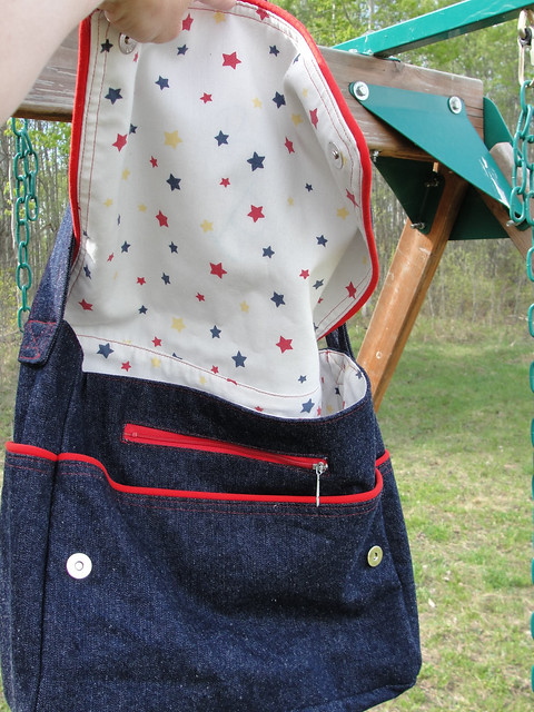 Denim Dearest Diaper Bag - open