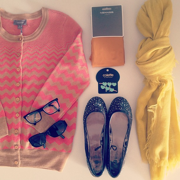 Additions to my closet - Sussan zig zag cardigan, on sale for $49.95, mustard tights and scarf also from Sussan, $8.47 and $19.95. Collette Dinnigan glasses and sunglasses $249 at Specsavers, Colette hair clips $3.95 and Wildfire shoes from Spend-less Sho